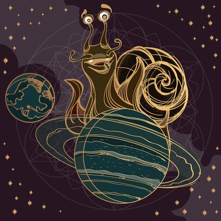 Cheerful snail on the planet Saturn. Funny illustration on the space theme on dark background. Design for t-shirts and items. 矢量图像