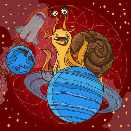 Cheerful snail on the planet Saturn. Funny illustration on the space theme on burgundy background. Design for t-shirts and items.