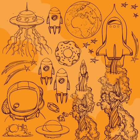 Set outline drawing with the spacecraft on a yellow background. Different types of shuttles and flying saucers.
