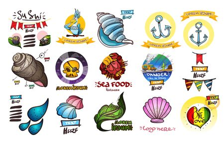 Set of icons in the style of hand-drawing on the theme of the sea. Outline color illustrations to create infographics. 矢量图像