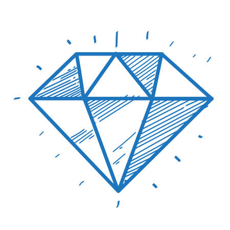 Faceted gem logo sketch. Element for infographics in the hand drawing style.