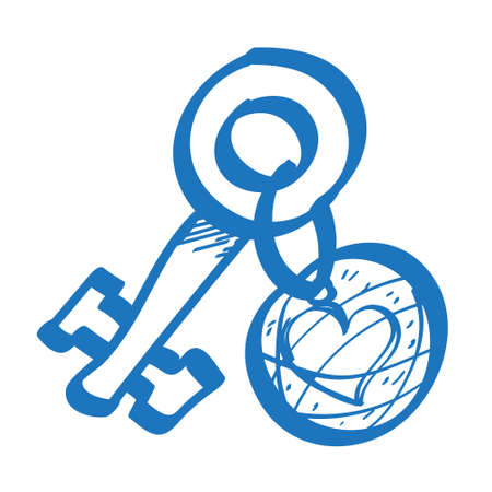 Yellow key with a label and heart outline of a logo. Element for infographics in the hand drawing style. 矢量图像