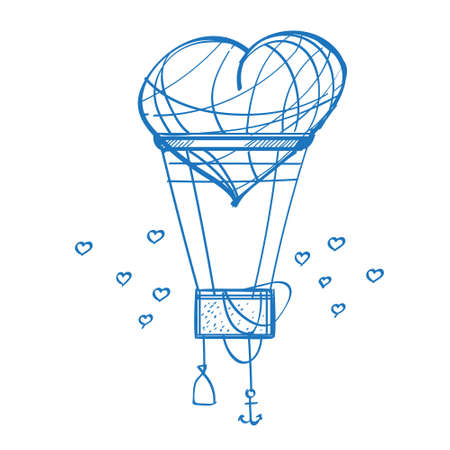 A balloon in the shape of a heart is a sketch of the logo. Element for infographics in the hand drawing style.
