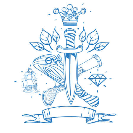 Sketch of tattoo with daggers, a crown and a baseball bat. Outline illustration for coloring with machetes. Drawing on themes Ganster to design T-shirts, playing cards, theme parties 矢量图像