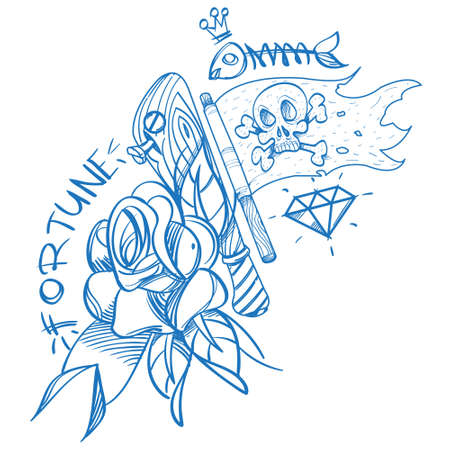 Sketch of tattoo with a dagger and roses. Outline illustration for coloring with the Jolly Roger. Drawing from a pirate and flowers for design t-shirts, playing cards, theme parties 免版税图像 - 152839288