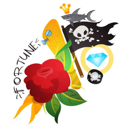 Sketch of tattoo with a dagger and roses. Illustration for coloring with the Jolly Roger. Drawing from a pirate and flowers for design t-shirts, playing cards, theme parties 矢量图像