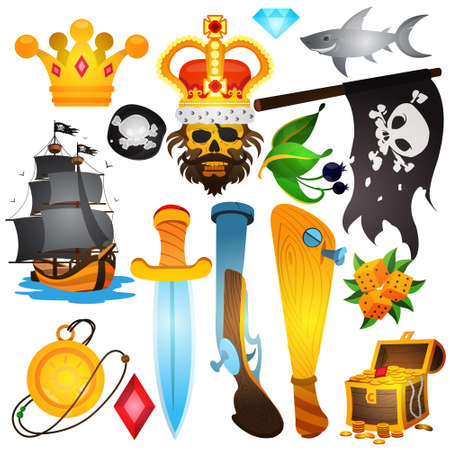 Set illustrations with pirate attributes. Various items Medieval Pirates. Drawing on themes Ganster to design T-shirts, playing cards, theme parties