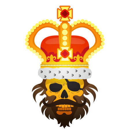 Hairy pirate skull in the royal crown tattoo Gold cro. Sticker for gaming mobile applications
