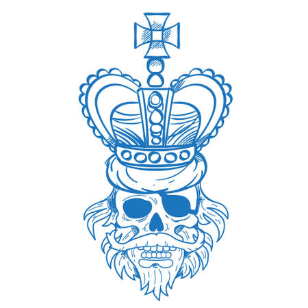 Hairy pirate skull in the royal crown outline tattoo Gold cro. Sticker for gaming mobile applications