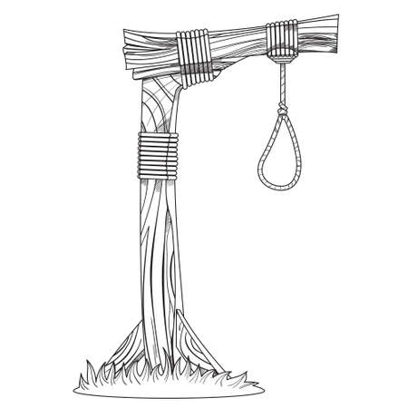 Gallows. Sketch device for hanging. Illustration for coloring