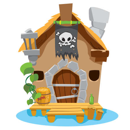 Witches Hut. Cartoon illustration of a house sorceress. Drawing for gaming mobile applications 矢量图像