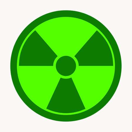 Radioactive contamination icon. Green color icon