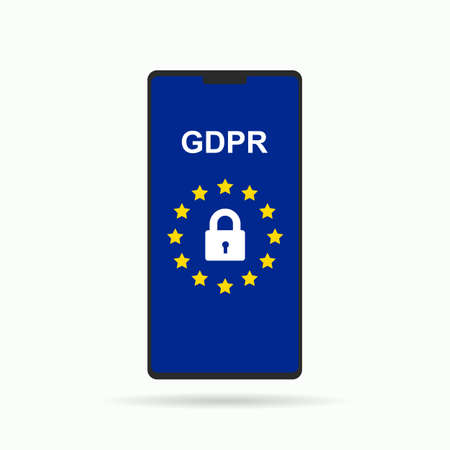 GDPR concept illustration. GDPR - General Data Protection Security technology background.