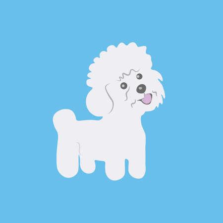Bichon frize. Dog icon. Vector illustration.