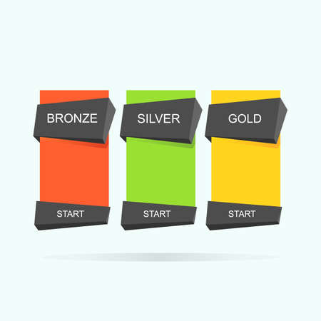 Three tariffs interface for the site. Pricing table, banner, order, box, button, list with plan for website. Vector illustration. Illustration