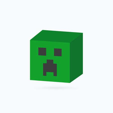 Square head icon. Creeper head. Vector illustration.
