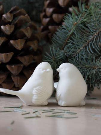plastic christmas tree: Plastic bird.  White plastic sparrow, Christmas decorations