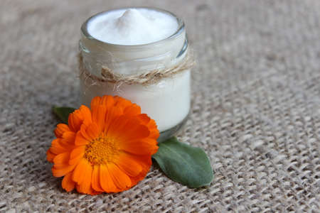 liniment: Face cream in a glass jar with a flower calendula on sackcloth.Cosmetics. Stock Photo