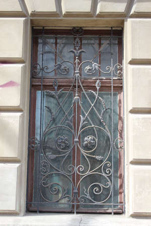 iron barred: Window bars with old