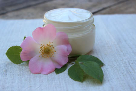 rose hips: Organic cosmetic cream with rose hip flower