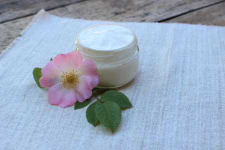 rose: Organic cosmetic cream with rose hip flower