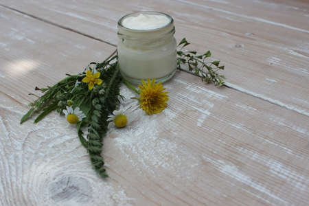 Cosmetic cream with chamomile flowers Banco de Imagens