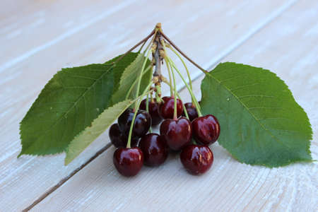 Organic ripe cherry on a background of boards