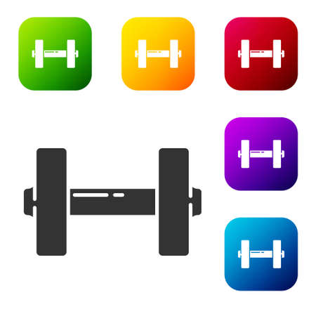 Black Dumbbell icon isolated on white background. Muscle lifting icon, fitness barbell, gym, sports equipment, exercise bumbbell. Set icons in color square buttons. Vector Illustration