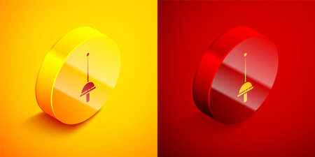 Isometric Fencing icon isolated on orange and red background. Sport equipment. Circle button. Vector Illustration