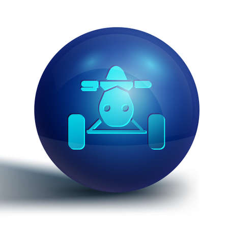 Blue All Terrain Vehicle or ATV motorcycle icon isolated on white background. Quad bike. Extreme sport. Blue circle button. Vector Illustration
