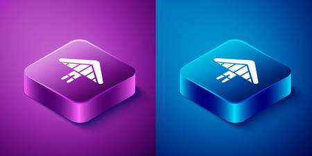 Isometric Hang glider icon isolated on blue and purple background. Extreme sport. Square button. Vector Illustration Illustration