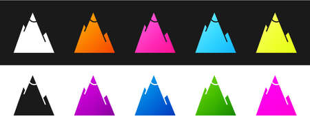 Set Mountains icon isolated on black and white background. Symbol of victory or success concept. Vector Illustration