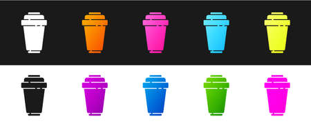 Set Water filter cartridge icon isolated on black and white background.  Vector Illustration