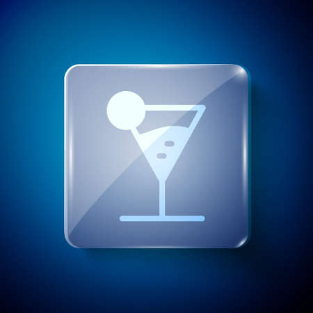 White Martini glass icon isolated on blue background. Cocktail icon. Wine glass icon. Square glass panels. Vector Illustration 向量圖像