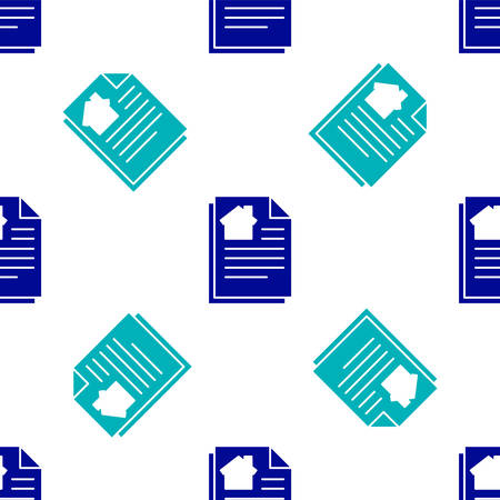 Blue House contract icon isolated seamless pattern on white background. Contract creation service, document formation, application form composition. Vector Illustration Stock Illustratie