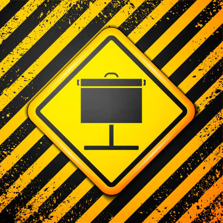Black Projection screen icon isolated on yellow background. Business presentation visual content like slides, infographics and video. Warning sign. Vector Illustration Illustration
