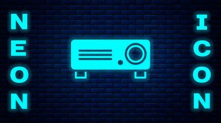 Glowing neon Presentation, movie, film, media projector icon isolated on brick wall background. Vector Illustration Illustration