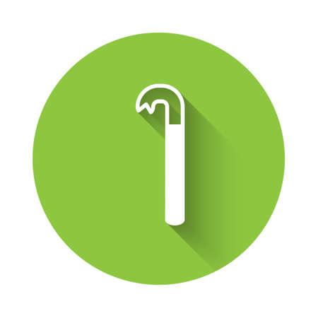 White Crowbar icon isolated with long shadow. Green circle button. Vector Illustration