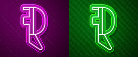 Glowing neon line Fencing helmet mask icon isolated on purple and green background. Traditional sport defense. Vector Illustration Illustration