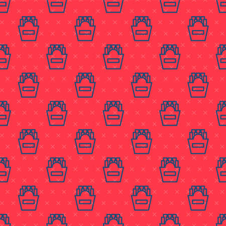 Blue line Potatoes french fries in carton package box icon isolated seamless pattern on red background. Fast food menu. Vector Illustration