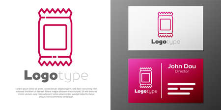 Logotype line Fertilizer bag icon isolated on white background. Logo design template element. Vector Illustration