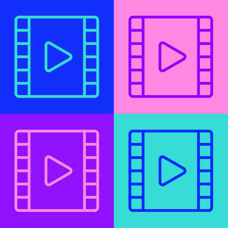 Pop art line Play Video icon isolated on color background. Film strip with play sign. Vector Illustration