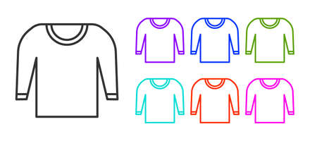 Black line Sweater icon isolated on white background. Pullover icon. Set icons colorful. Vector Illustration