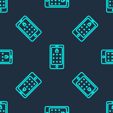 Green line Mobile phone and graphic password protection icon isolated seamless pattern on blue background. Security, personal access, user authorization. Vector Illustration