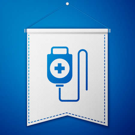 Blue IV bag icon isolated on blue background. Blood bag. Donate blood concept. The concept of treatment and therapy, chemotherapy. White pennant template. Vector Illustration
