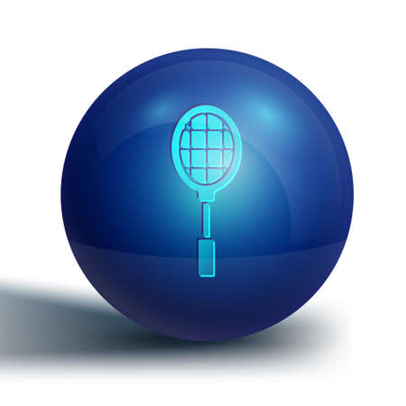 Blue Tennis racket icon isolated on white background. Sport equipment. Blue circle button. Vector Illustration