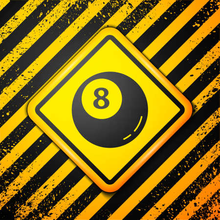 Black Billiard pool snooker ball icon isolated on yellow background. Warning sign. Vector Illustration Çizim