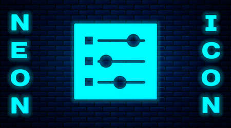 Glowing neon Car settings icon isolated on brick wall background. Auto mechanic service. Repair service auto mechanic. Maintenance sign. Vector Illustration