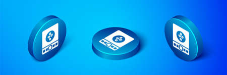 Isometric Electronic coffee scales icon isolated on blue background. Weight measure equipment. Blue circle button. Vector Illustration Ilustração