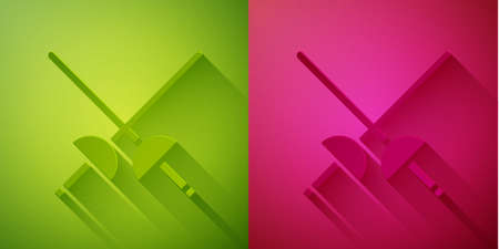 Paper cut Fencing icon isolated on green and pink background. Sport equipment. Paper art style. Vector Illustration